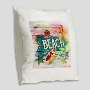 rainbow surfer beach hawaiian Burlap Throw Pillow
