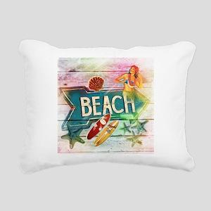 rainbow surfer beach haw Rectangular Canvas Pillow