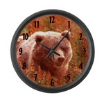 Grizzly Bear Cub in Fireweed Large Wall Clock