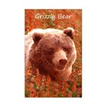 Grizzly Bear Cub in Fireweed Mini Poster Print