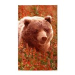 Grizzly Bear Cub in Fireweed Area Rug