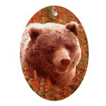 Grizzly Bear Cub in Fireweed Oval Ornament