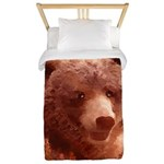 Grizzly Bear Cub in Fireweed Twin Duvet Cover