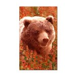 Grizzly Bear Cub in Fireweed Rectangle Car Magnet