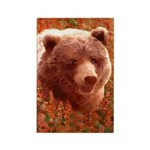 Grizzly Bear Cub in Fireweed Rectangle Magnet