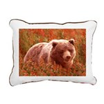 Grizzly Bear Cub in Fire Rectangular Canvas Pillow