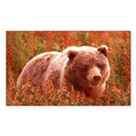 Grizzly Bear Cub in Fireweed Sticker (Rectangle)