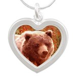Grizzly Bear Cub in Fireweed Silver Heart Necklace