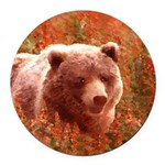 Grizzly Bear Cub in Fireweed Round Car Magnet