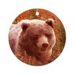 Grizzly Bear Cub in Fireweed Round Ornament