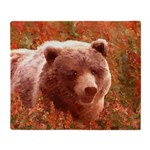 Grizzly Bear Cub in Fireweed Throw Blanket