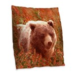 Grizzly Bear Cub in Fireweed Burlap Throw Pillow