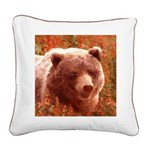 Grizzly Bear Cub in Fireweed Square Canvas Pillow