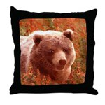 Grizzly Bear Cub in Fireweed Throw Pillow
