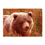 Grizzly Bear Cub in Fireweed 5'x7'Area Rug