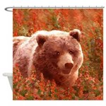 Grizzly Bear Cub in Fireweed Shower Curtain