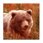 Grizzly Bear Cub in Fireweed Tile Coaster