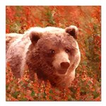 Grizzly Bear Cub in Fire Square Car Magnet 3