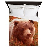 Grizzly Bear Cub in Fireweed Queen Duvet