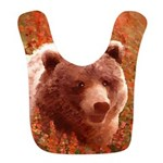 Grizzly Bear Cub in Fireweed Polyester Baby Bib