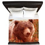 Grizzly Bear Cub in Fireweed King Duvet