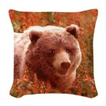Grizzly Bear Cub in Fireweed Woven Throw Pillow