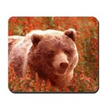 Grizzly Bear Cub in Fireweed Mousepad