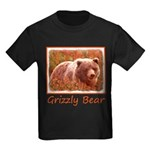 Grizzly Bear Cub in Fireweed Kids Dark T-Shirt