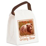 Grizzly Bear Cub in Fireweed Canvas Lunch Bag