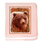 Grizzly Bear Cub in Fireweed baby blanket
