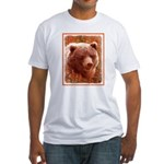 Grizzly Bear Cub in Fireweed Fitted T-Shirt