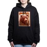 Grizzly Bear Cub in Fire Women's Hooded Sweatshirt