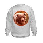 Grizzly Bear Cub in Fireweed Kids Sweatshirt