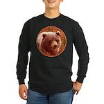 Grizzly Bear Cub in Firew Long Sleeve Dark T-Shirt