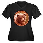 Grizzly Bear Women's Plus Size V-Neck Dark T-Shirt