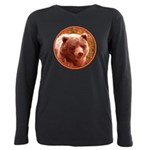 Grizzly Bear Cub in Fire Plus Size Long Sleeve Tee