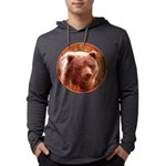 Grizzly Bear Cub in Fireweed Mens Hooded Shirt