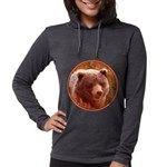 Grizzly Bear Cub in Fireweed Womens Hooded Shirt