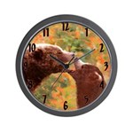 Grizzly Bear Mom and Cub Wall Clock
