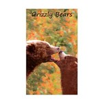 Grizzly Bear Mom and Cub Sticker (Rectangle 10 pk)