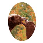 Grizzly Bear Mom and Cub Oval Ornament