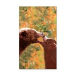 Grizzly Bear Mom and Cub Rectangle Car Magnet
