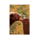 Grizzly Bear Mom and Cub Rectangle Magnet