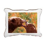 Grizzly Bear Mom and Cub Rectangular Canvas Pillow