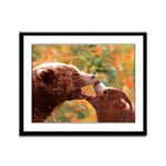 Grizzly Bear Mom and Cub Framed Panel Print