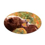 Grizzly Bear Mom and Cub Oval Car Magnet