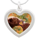 Grizzly Bear Mom and Cub Silver Heart Necklace