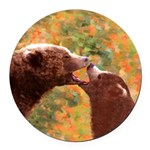 Grizzly Bear Mom and Cub Round Car Magnet