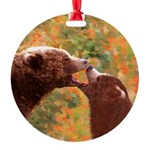 Grizzly Bear Mom and Cub Round Ornament