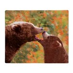 Grizzly Bear Mom and Cub Throw Blanket